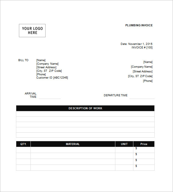 Plumbing Invoice Templates – 8+ Free Word, Excel, PDF Format