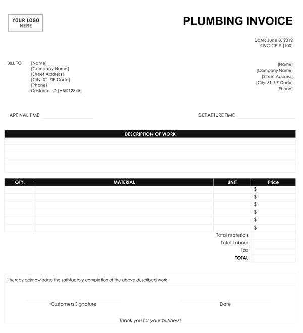 Plumbing Invoice Template – 9+ Free Templates in Word, PDF, Excel