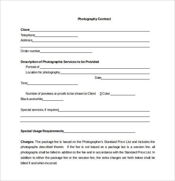 photography agreement template download portrait photography