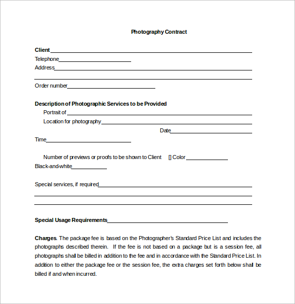 Photography Contract Example  11+ Free Word, PDF Documents