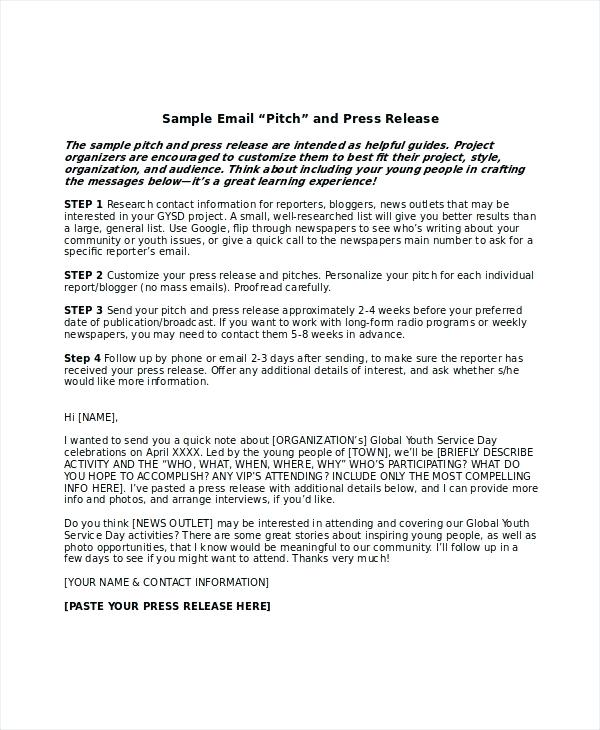 Press Release Email Template Press Release Email Template Sending