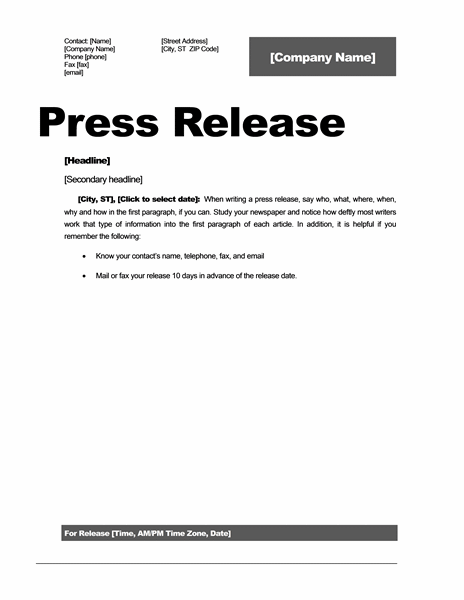 press release word template   Roho.4senses.co