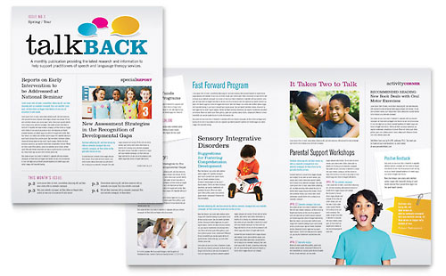 Speech Therapy Education Newsletter Template Design Stocklayouts