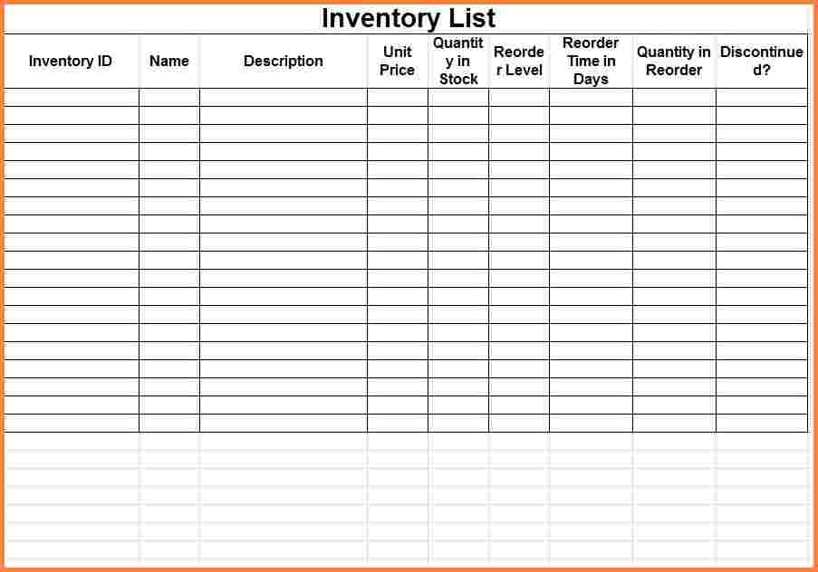 Inventory Count Form Template