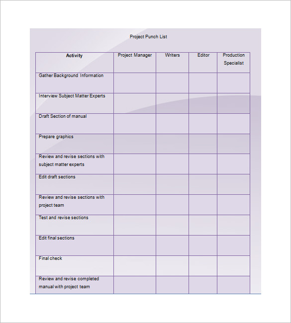 Punch List Template   8+ Free Word, Excel, PDF Format Download