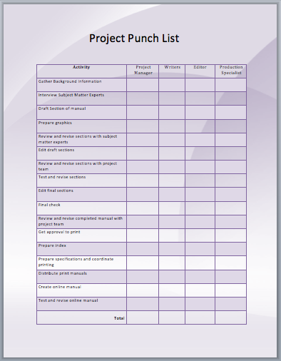 commercial construction punch list template   Physic.minimalistics.co