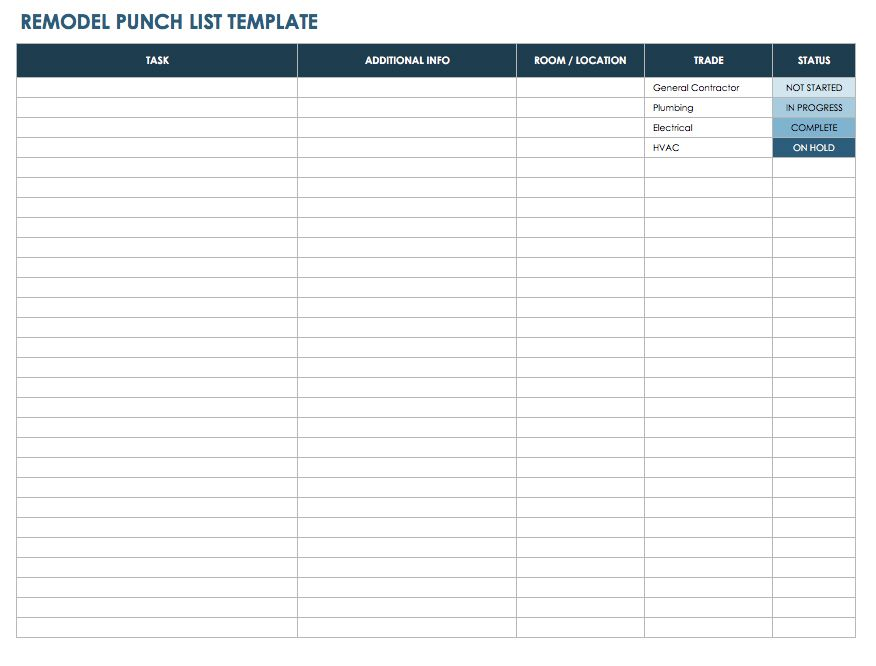 15+ Free Construction Punch List Templates   MS Office Documents