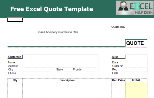 Quote Template Excel   JP Designs