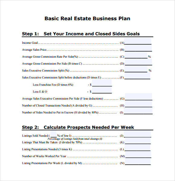 real estate business proposal template real estate business plan