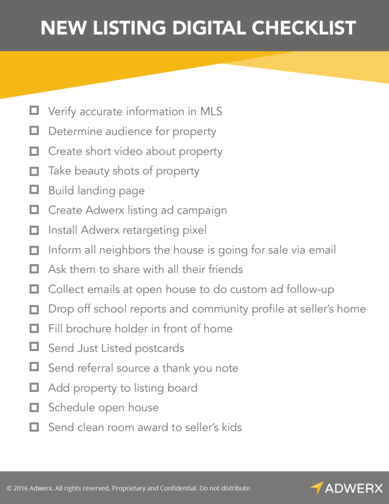 Digital marketing checklist for new real estate listings