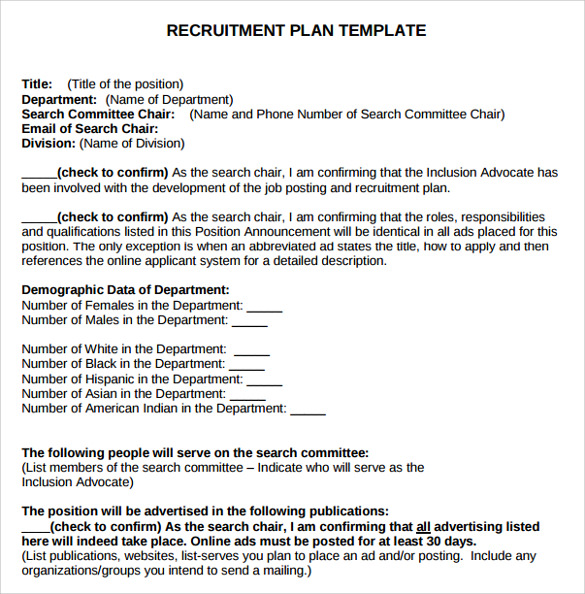 Recruitment Plan Template. Page Recruitment Strategies Recruitment