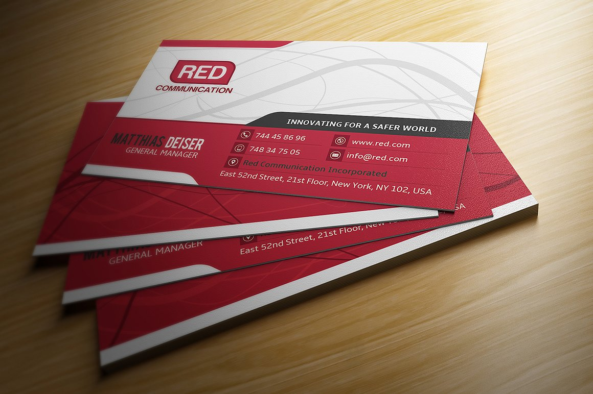 Red Business Card ~ Business Card Templates ~ Creative Market