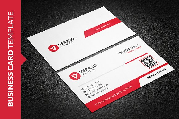 Clean Vibrant Red Business Card ~ Business Card Templates