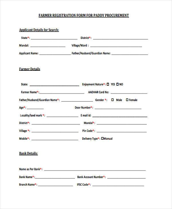 Register form sample for Sample workshop registration form template