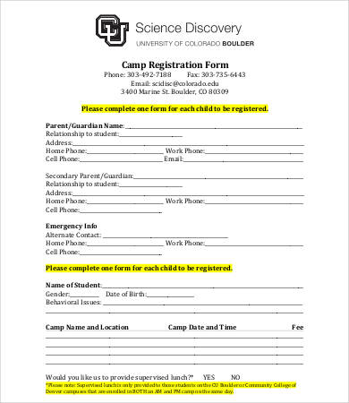 register form sample