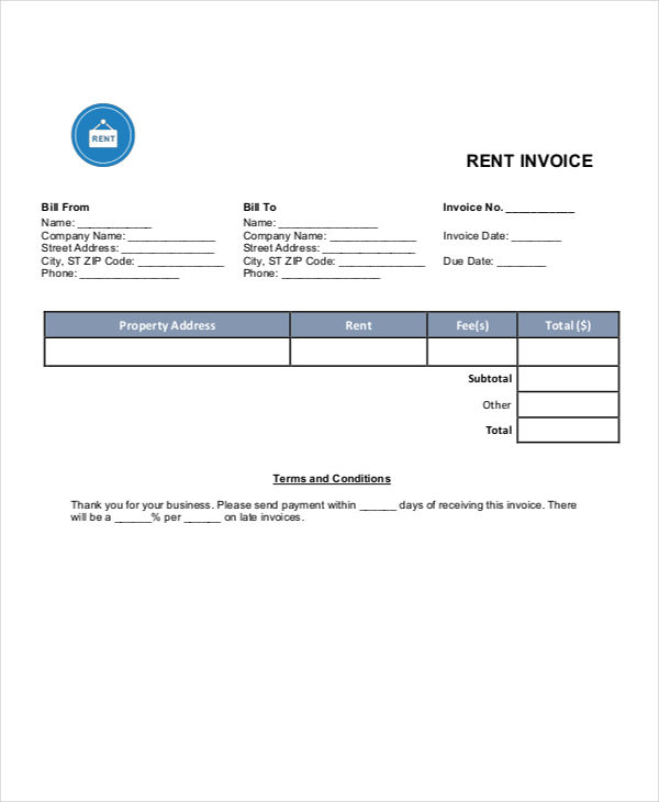rent invoice template 6 rent invoice template weeklyplannerwebsite