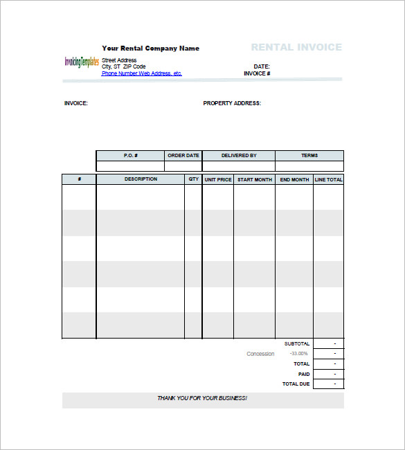 rent invoice template word rental invoice here is the free rental
