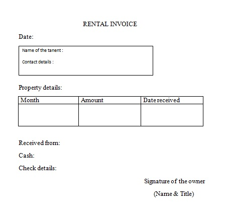 Rental Invoice Template   6+ Free Word, PDF Document Download