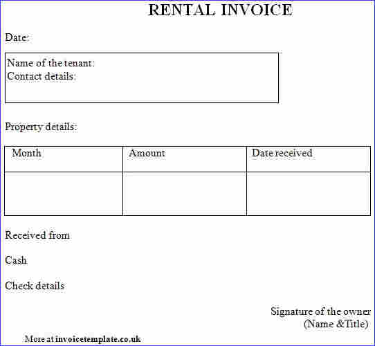 Free Rental Invoice template word | Templates at