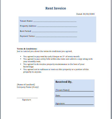 Rent Invoice Template | Free Invoice Templates