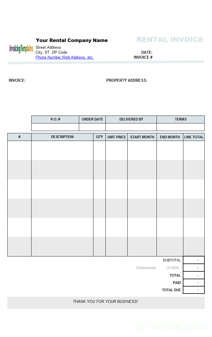 Nice Blank Invoice Template For Rental Or Sale In Microsoft Word