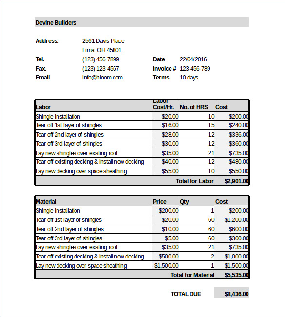 roofing estimate template free download   Physic.minimalistics.co