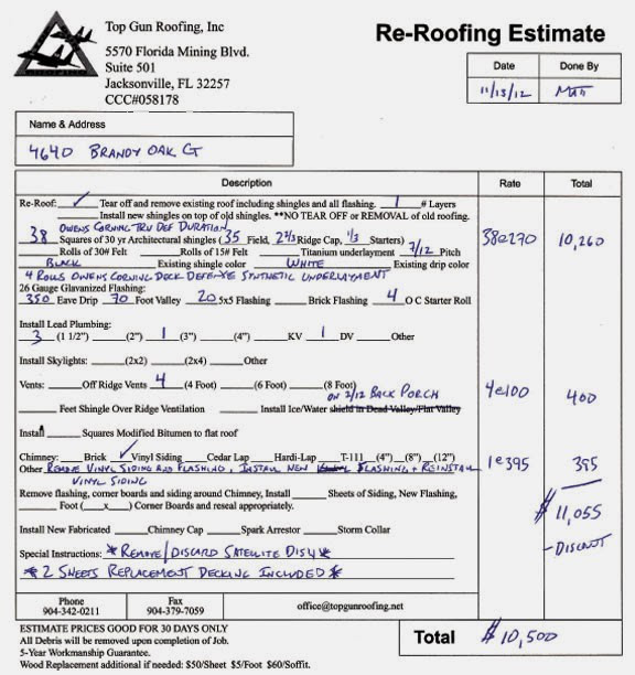 Roof estimate sample roofing estimates template 576 612 w 640