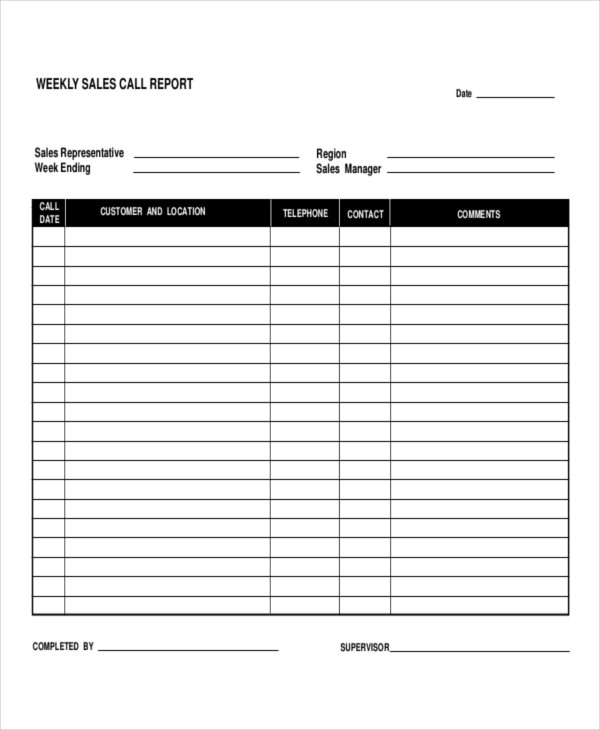 Call Report Template   25+ Free Excel, Word, PDF Documents