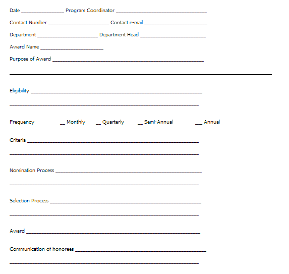 employee recognition nomination form template award nomination