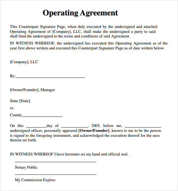 operating agreement template free team operating agreement