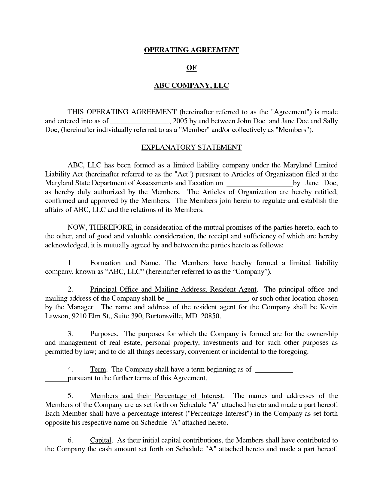 Simple Operating Agreement texas llc operating agreement template