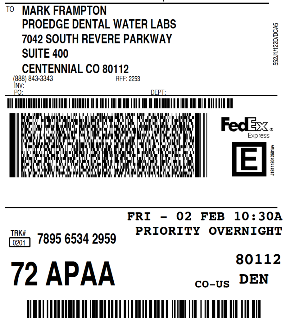 Sample FedEx Overnight Shipping Label   ProEdge Dental Water Labs
