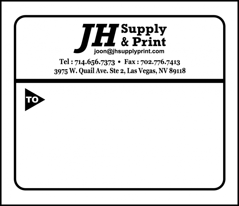 JH Supply & Print   Sample Shipping Labels