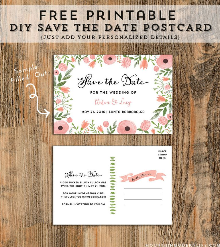 Free Save The Date Postcard Templates Free Printable Save The Date
