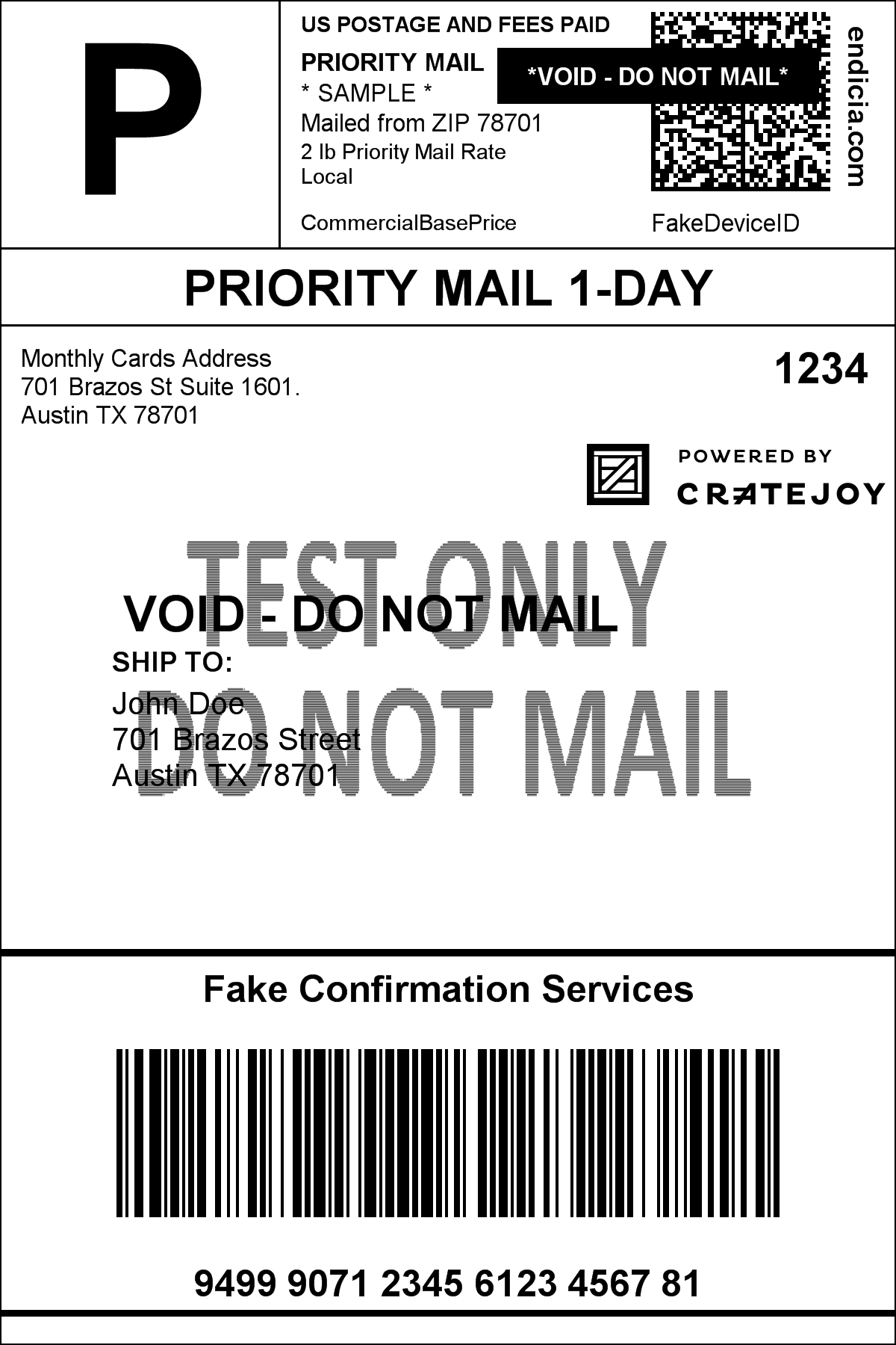 Sample Cratejoy Shipping Label – Cratejoy Help