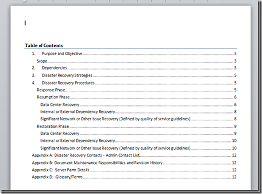 A Microsoft Word Document Template For Disaster Recovery Planning
