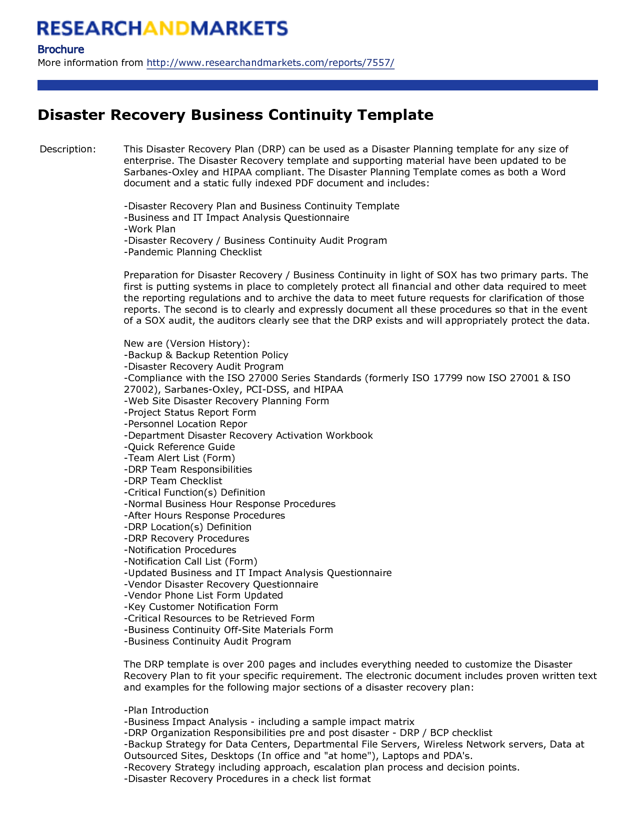 business recovery plan awesome it disaster template sample for sma