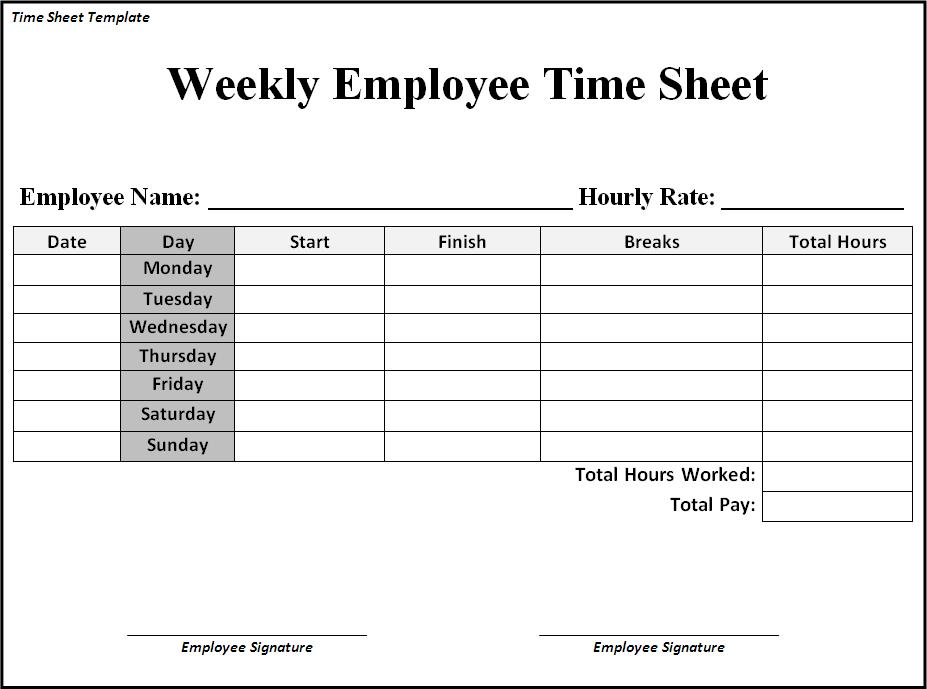 Employee Weekly Time Sheet Zoroblaszczakco Free Weekly Time Sheets