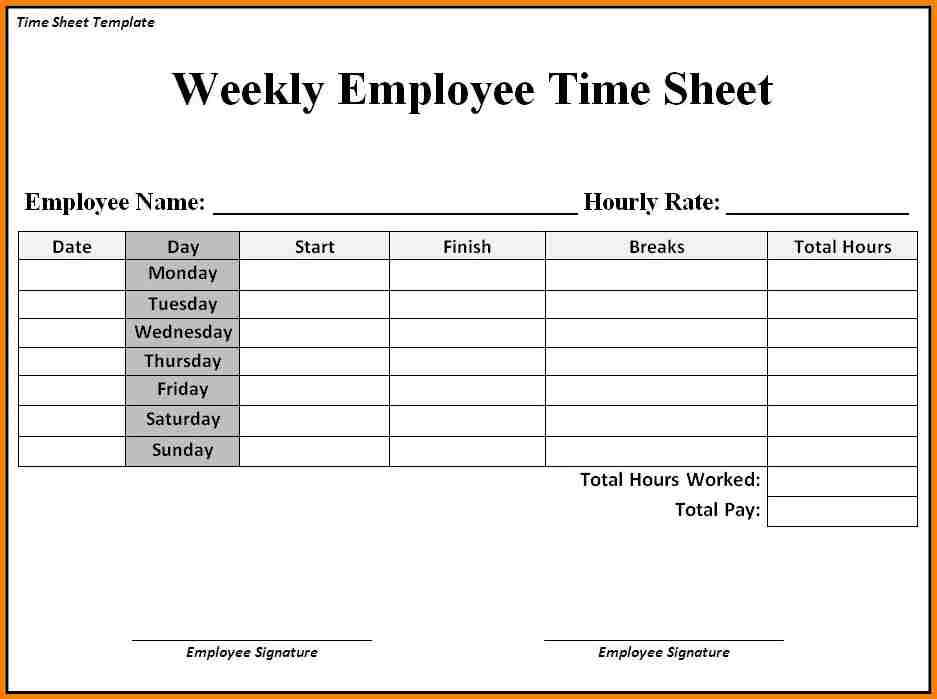 Simple Time Sheets Free Employee Time Sheet Templates