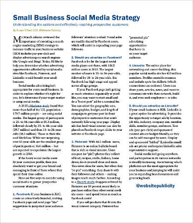 Social Media Strategy Example   7+ Free Word, PDF Documents