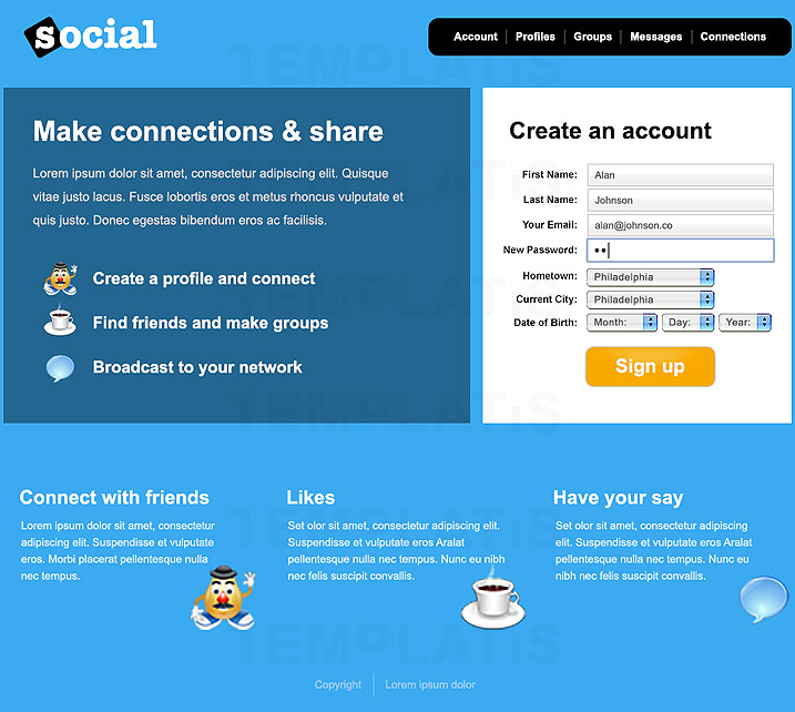 Social Website Template. facebook clone free oxwall social network