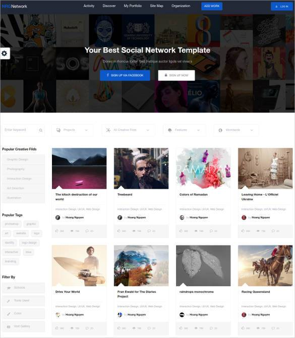 25+ Social Media Website Themes & Templates | Free & Premium Templates
