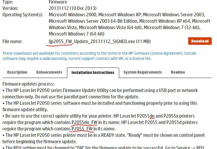 HP LaserJet P2055dn Firmware upgrade doesn't reflect reality