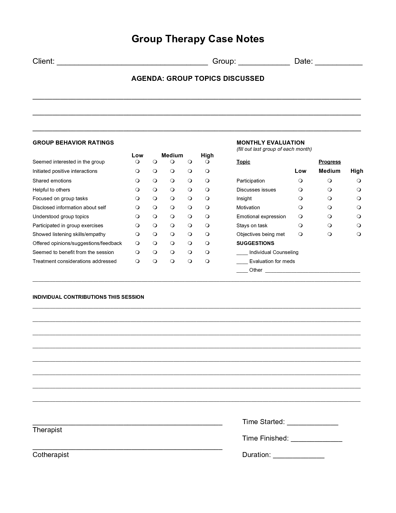 Free Case Note Templates | Group Therapy Case Notes | For Me