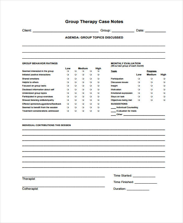 therapy note templates   Dorit.mercatodos.co