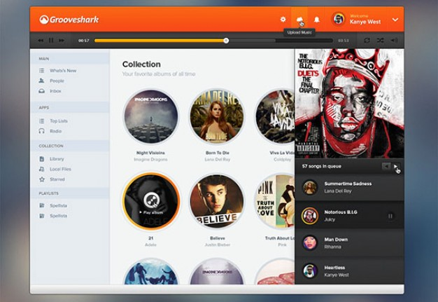 Music player user interface template PSD PSD file | Free Download