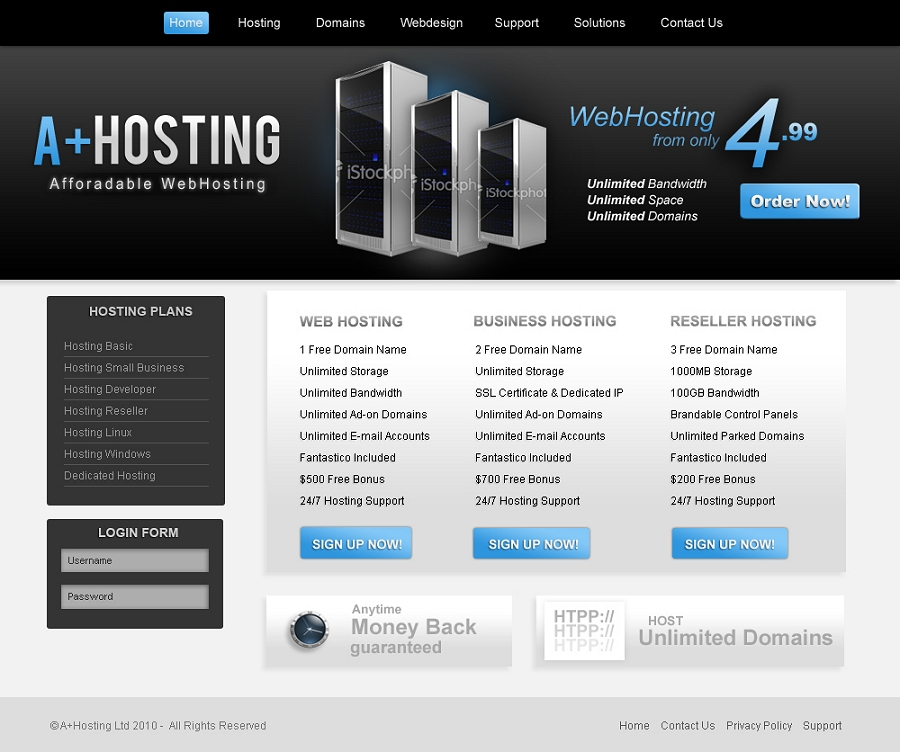 Webhosting Template. link web hosting free bootstrap template