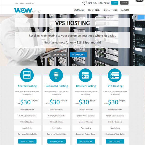 Responsive WordPress Web Hosting Templates & Themes