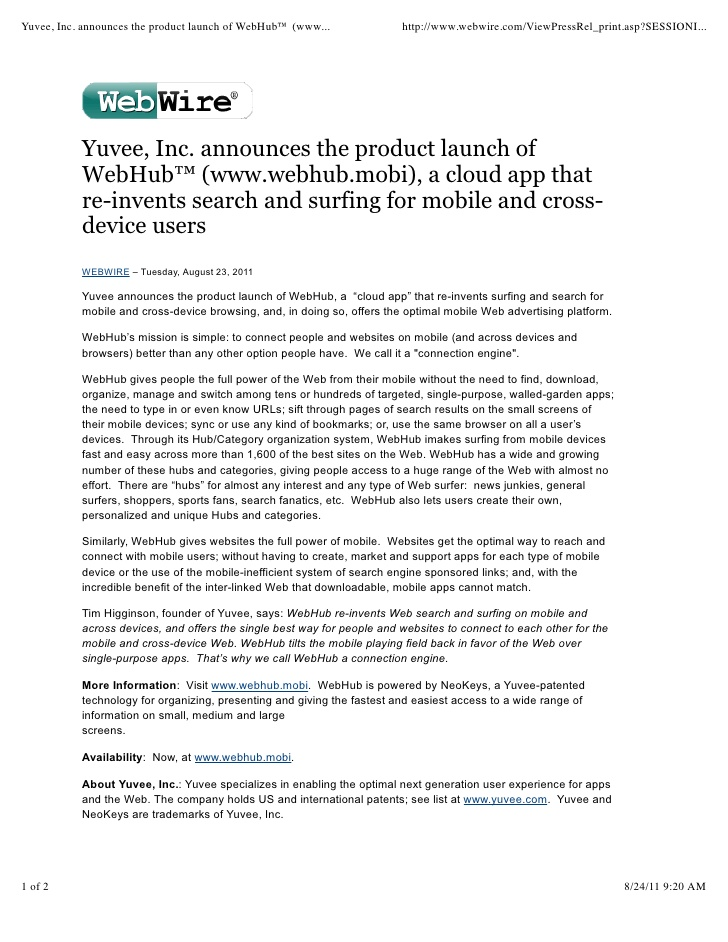 Web Launch Press Release