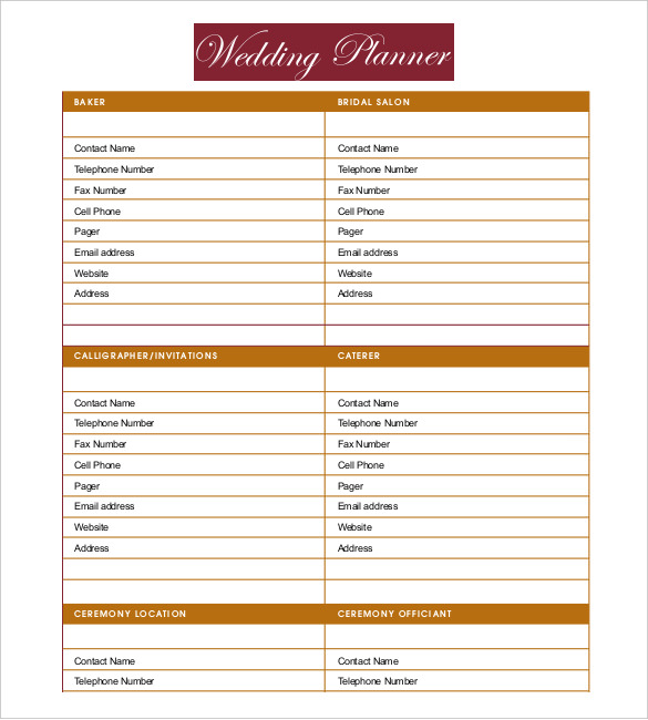 13+ Wedding Planner Templates – Free Sample, Example, Format